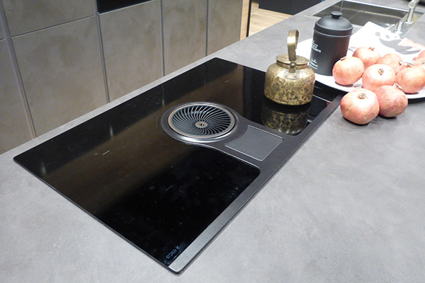 Kitchen cooker with integrated hood