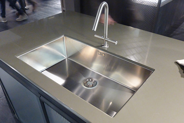 Stainless steel kitchen sink in Cologne fair