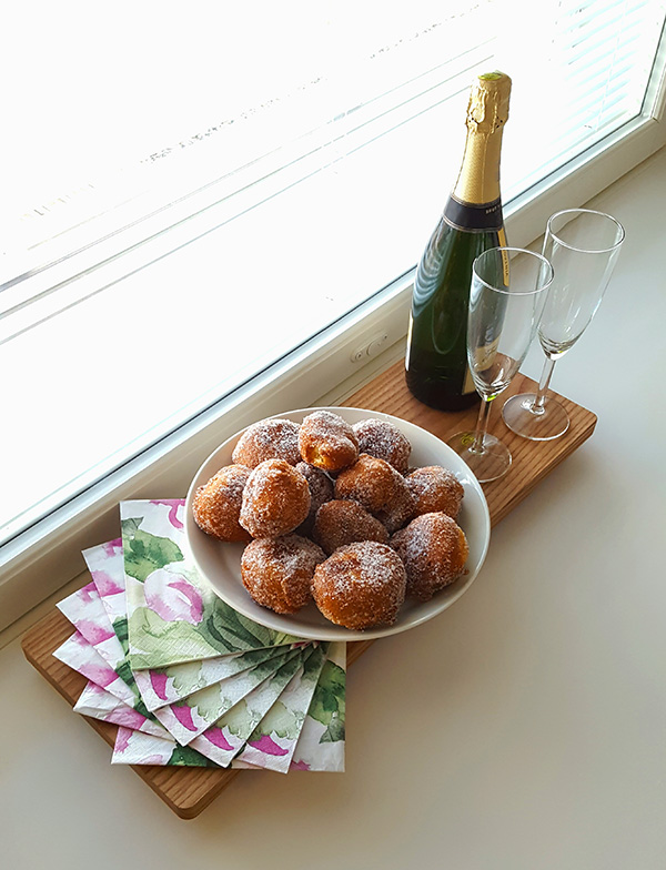 May day doughnuts on the kitchen worktop