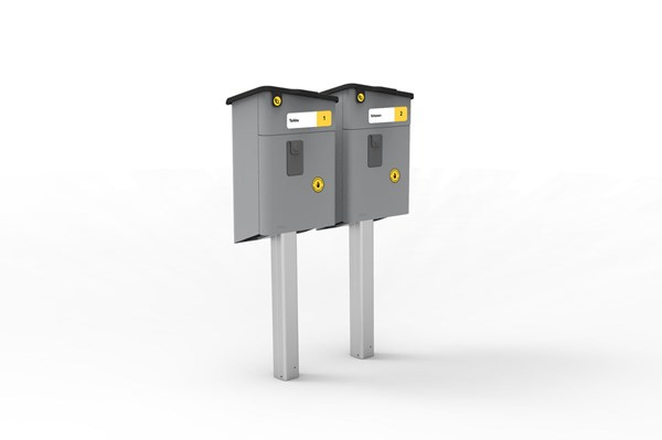 Mailbox stand for two PL-2 mailboxes