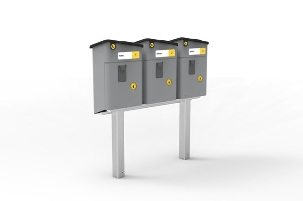 Mailbox stand for three PL-2 mailboxes