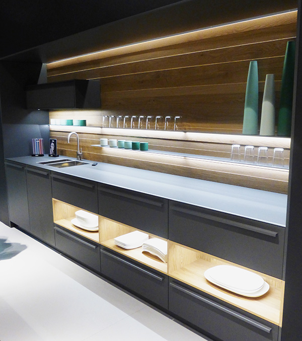 Open shelves in modern kitchen