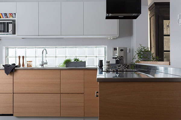 As the kitchen is used everyday, the hygienic stainless steel is a good choice